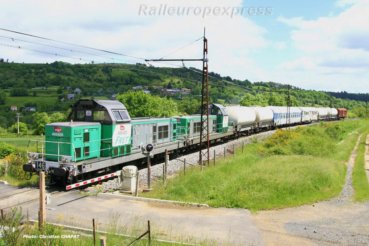 BB 66406 SNCF et train désherbeur à Saint Flour (F 15)