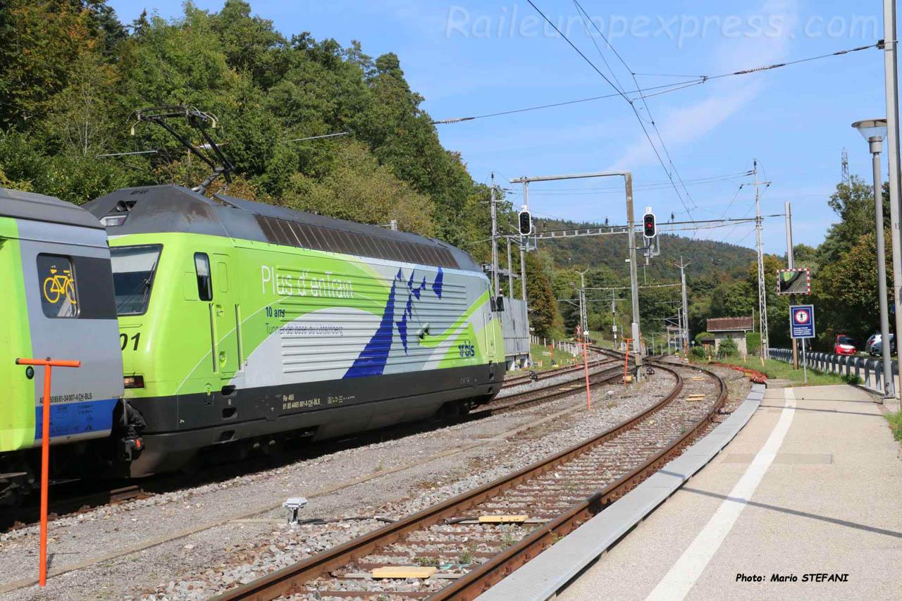 Re 465 001-6 BLS à Chambrelien (CH)