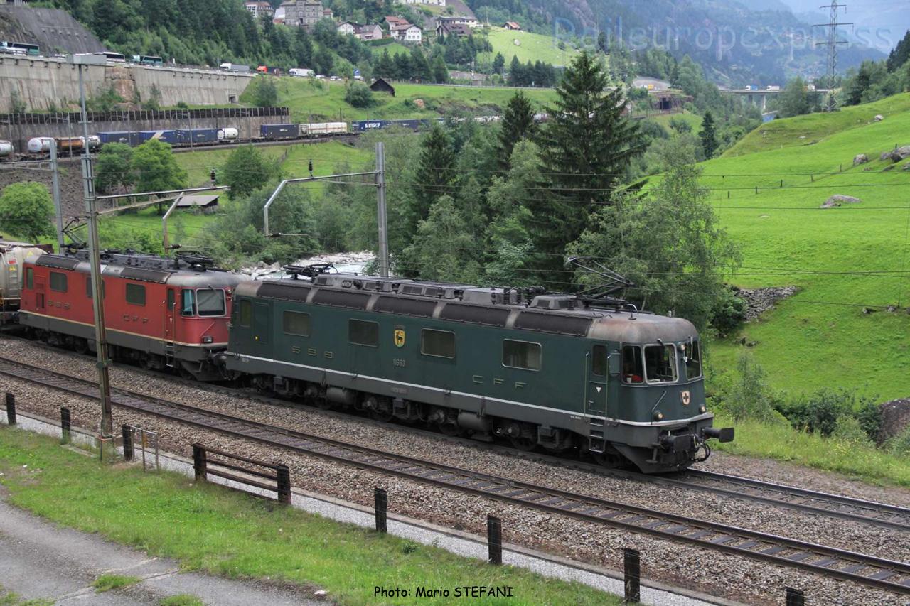 Re 6/6 11663 CFF à Wassen (CH)