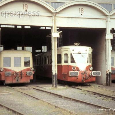Autorails SNCF sous la rotonde de Saint Etienne (F-43)