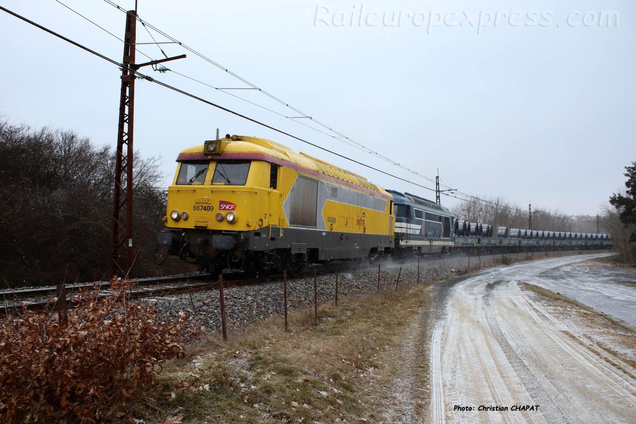 BB 67409 SNCF à Loubaresse (F-15)