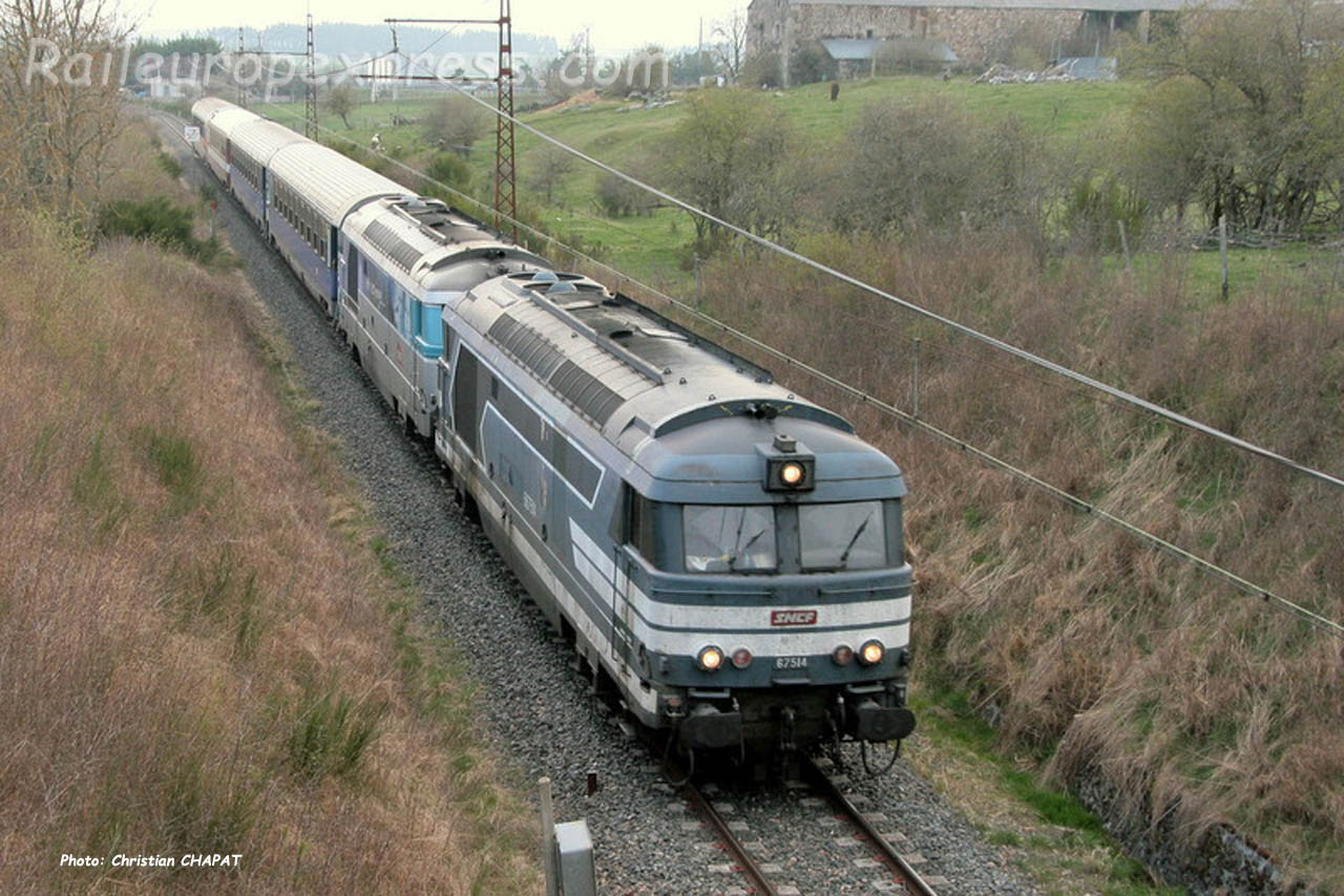 BB 67514 SNCF à Loubaresse (F-15)