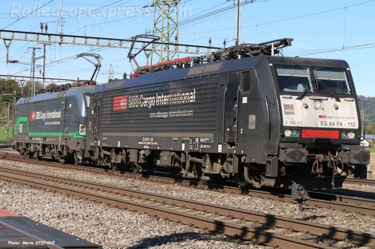 E 189 112 CFF à Hendschiken (CH)