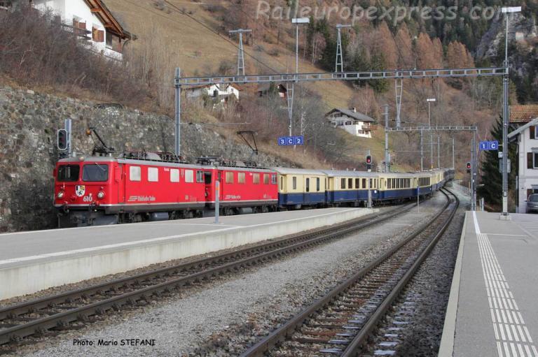 Ge 4/4 610 et 603 RhB à Filisur (CH)