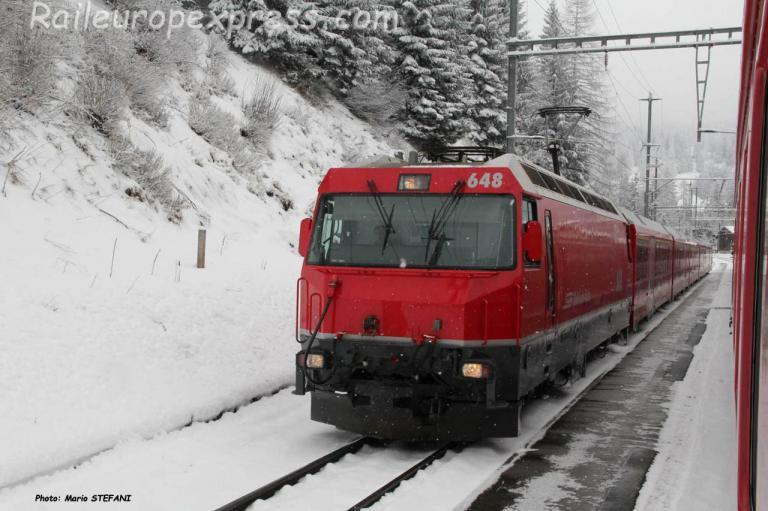 Ge 4/4 III 648 RhB à Bergün (CH)