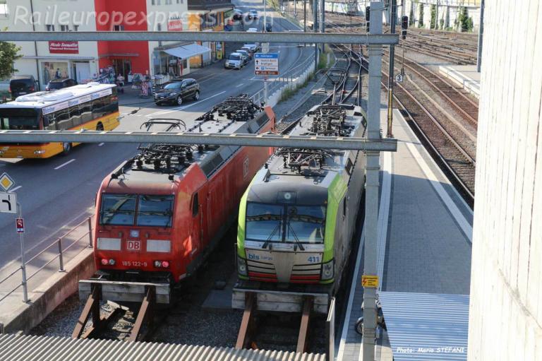 Locomotives DB et BLS à Spiez (CH)