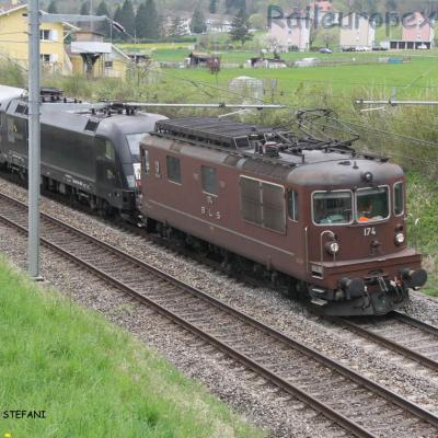 Re 4/4 174 BLS à Boudry (CH)