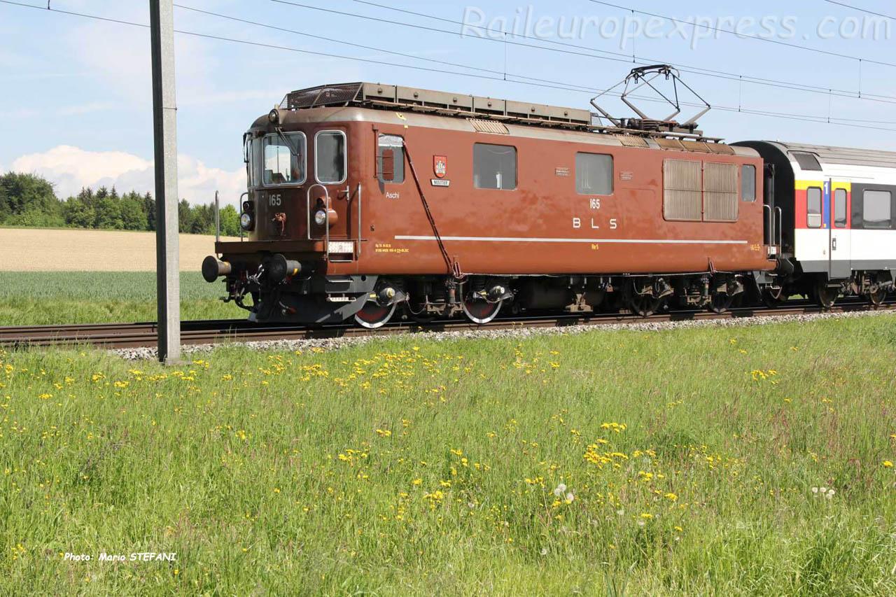 Re 4/4 165 BLS à Hindelbank (CH)