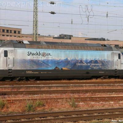 Re 465 016 BLS à Basel Bad (CH)
