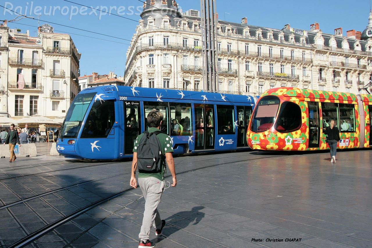 Trams lignes 1 et 2 à Montpellier (F-34)